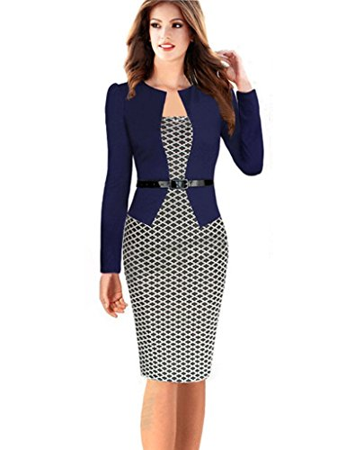 Kleid Womens Toga (Minetom Damen Hahnentritt Elegant Kleider Business Kleider Abendkleid Etuikleid Casual Knielang Party Dress mit Gürtel Marine DE)
