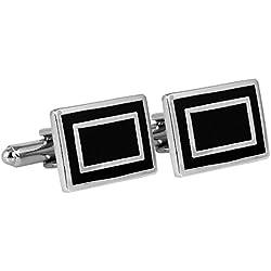 TieOn Designer Rectangle Cufflinks for Men_Black