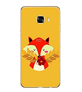 PrintVisa Cute Cat Flower High Glossy Metal Designer Back Case Cover for Samsung Galaxy C7