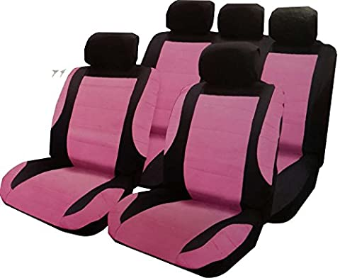 XtremeAuto® Universal Pink and Black Leather Look Car Seat Covers - Includes Steering Wheel Cover and Seat Belt Harness Pads