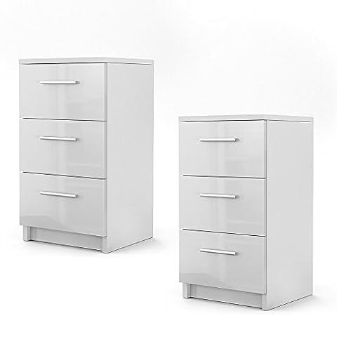 Nachtschrank Nachttisch Kommode Schrank Schlafzimmer Schublade Ablage Sonoma (Weiß - Hochglanz)