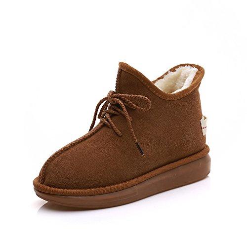 YLSZ-Shoes Bottes de Neige Bottes en Cuir Mat Cashmere Plus dans Le Tube Slipper Chaussures Chaussures Grande Taille en Coton