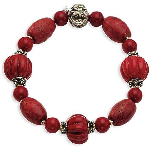 Icecarats Designer Di Gioielli In Argento Sterling Anticato Perle Di Corallo Rosso Braccialetto Tratto