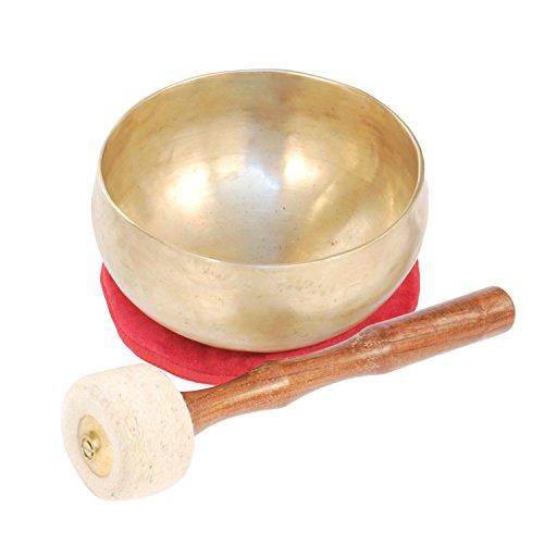 Klangschale L, groß, Ø ca.19cm, traditionell mit Filzklöppel und weinrotem Kissen, für Meditation, Klangtherapie, Klangmassage