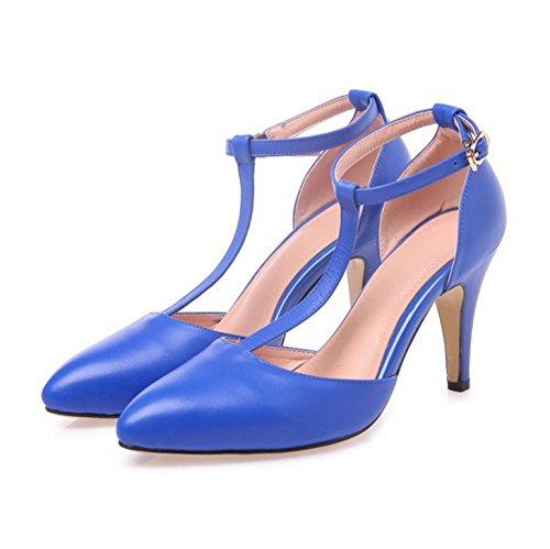 WSS chaussures à talon haut Anneau de jeunesse de t-sangle de cheville chaussures femme treasure blue