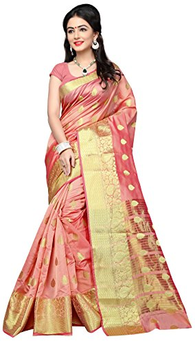 Indian Fashionista women's Silk Saree With Blouse Piece - NRPT1129A_Pink_Free Size