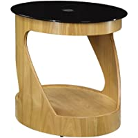 Jual JF304 Black Glass and Oak Oval Lamp Table