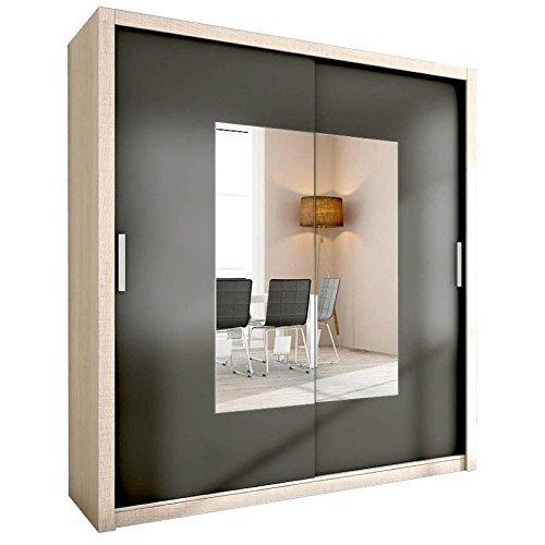 JUSTyou Alfa Schwebetürenschrank Kleiderschrank Garderobenschrank mit Spiegel (HxBxT): 200x180x62...