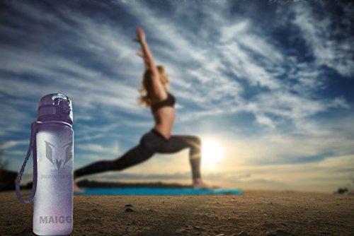 MAIGG Beste Sports Trinkflasche - 500ml & 1000ml - Eco Friendly & BPA-freiem Kunststoff - für das Laufen, Fitness, Yoga, Im Freien und Camping - Schnelle Wasserdurchfluss , Flip Top, öffnet sich mit 1 Grau