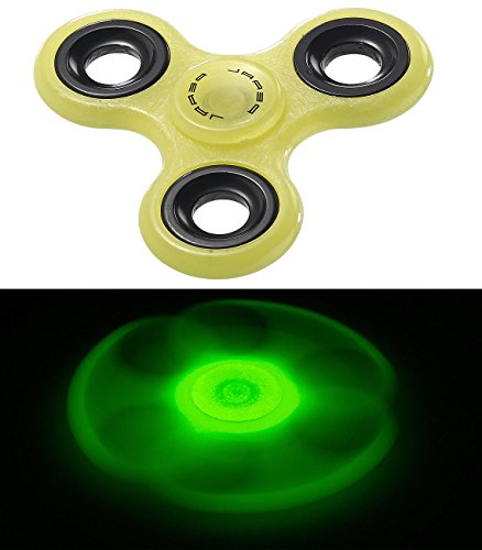 PEARL Fidget Spinner: 3-seitiger Hand-Spinner Glow in The Dark mit ABEC-7-Kugellager, grün (Fidget Spinner nachleuchtend)