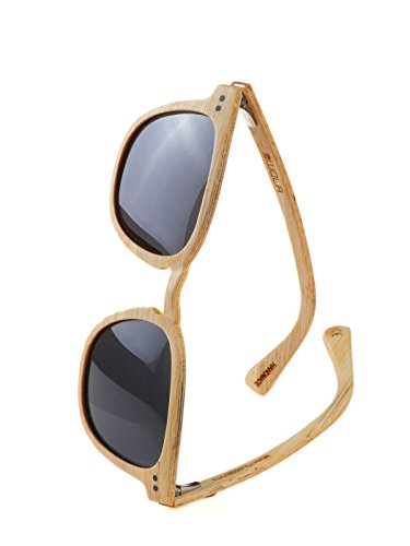 WOLA Herren Sonnenbrille Holz HELIO Brille quadratisch schmale Brücke polarisiert UV400 Holzbrille Bambus Unisex