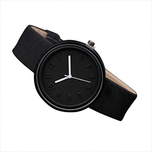 Sonnena Unisex Armbanduhren, Mode Analoge Quarz Armbanduhr Outdoor Canvas Damenuhr Herrenuhr Uhren Minimalistische Lederband Armband Uhr Casual Nummer Armbanduhren (Schwarz)