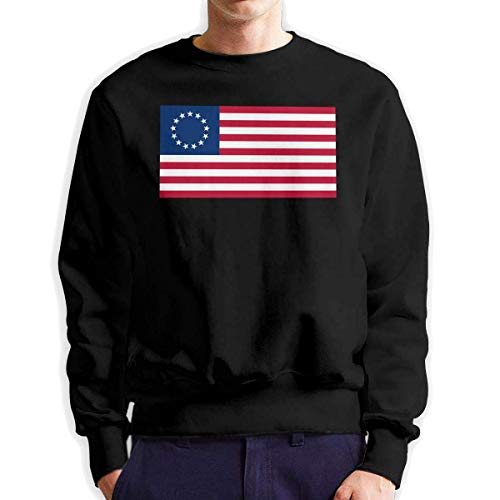 SASJOD Männer Hoodies Betsy Ross US Flag Men's Adult Crew Neck Sweatshirt Fashion Long Sleeve Pullover -