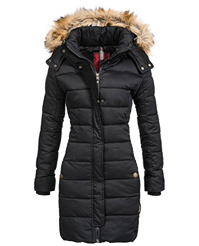 Navahoo Jessica Damen Winter Stepp Mantel mit kunst-Fell-Kapuze in Schwarz Gr. S