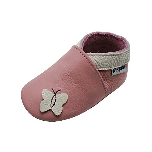 Mejale Weiche Sohle Leder Babyschuhe Lauflernschuhe Krabbelschuhe Kleinkind Kinderschuhe Hausschuhe Karikatur Schmetterling(6-12 Monate, Rosa)