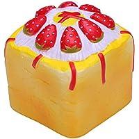 """VLAMPO Squishy stress Giocattoli Squishy morbida lento aumento della torta Strawberry Square 3.54 """"1 Pezzo (giallo)"""