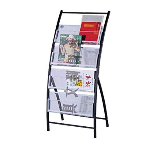 GIGIEroch Anzeige Magazin Prospektständer Countertop Literature Rack Brochure Organizer Offenes Regal Zeitungsständer Zeitungsständer aus Holz (Farbe : Schwarz, Größe : 106x47x33cm) -