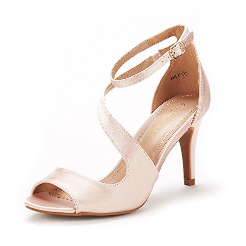 Dream pairs nile sandali tacco moda spillo punta aperta per donna champagne 40 eu