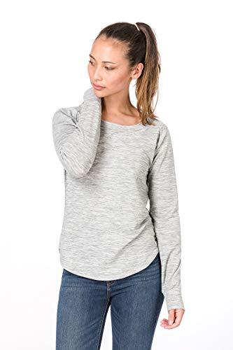 Merino-crew-shirt (super.natural Bequemes Damen Langarm-Shirt, Mit Merinowolle, W City Crew, Größe: S, Farbe: Hellgrau)