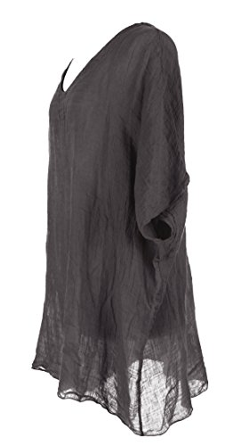 Damen Womens italienischen Lagenlook schrulligen V Neck Batwing Ärmel Plain Leinen KURZEN Kaftan Tunika Bluse One Size Plus Dark Grau
