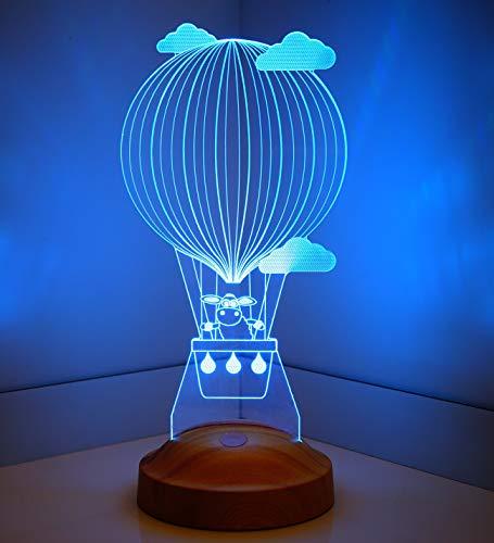 ertes Geschenk 3D Led Lampe, Wunschtext, Schlummerlicht, Farbwechsel Dekor Lampe (Lämmchen Fliegender Ballon) - Sevgi Lambası ()