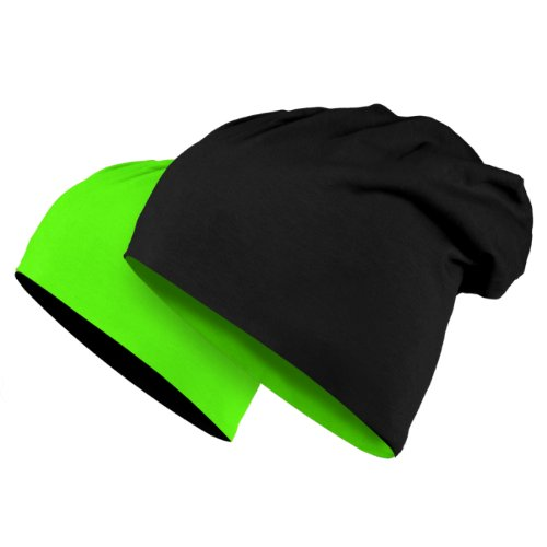MASTERDIS Jersey Beanie reversible, black/neon green (Visor Beanie Reversible)