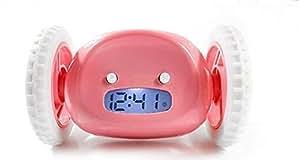 Rightwell LCD Sveglia Digitale Runaway Alarm Clock,per Dormiglioni con Ruote (Rosa)