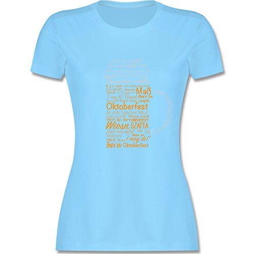 Shirtracer Oktoberfest Damen - Oktoberfest Maß - Damen T-Shirt Rundhals Hellblau