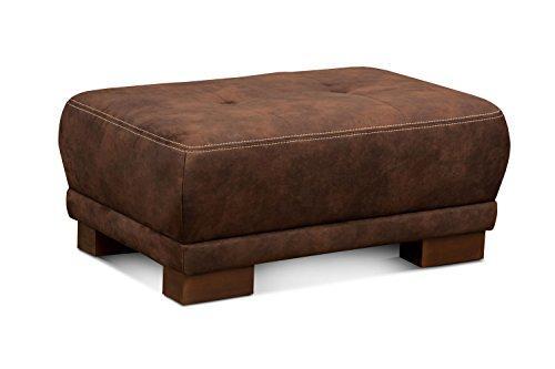CAVADORE Sofahocker Cytaro in Wildlederoptik/Gepolsterter Hocker für Wohnzimmer mit Moderner Kontrastnaht und Holzfüßen/Größe: 99 x 43 x 65 cm (BxHxT)/Bezugsstoff in Dunkelbraun (Polyester Gepolstert Sofa)