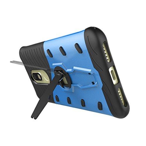 Motorola Moto M Gehäuse Schock-resistent 360 Grad Spin Sniper Hybrid Case TPU + PC Kombi-Gehäuse mit Halter für Motorola Moto M Fall by diebelleu ( Color : Blue ) Blue