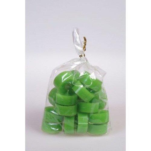 20 original Dänische Teelichter ohne Duft im Acryl-Cup farbig durchgefärbt apfel grün (Grüner Duft Apfel)