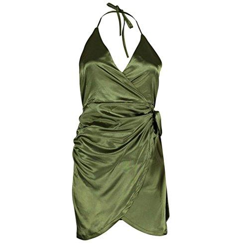 VENMO Damen Satin Strappy Kleid Asymmetrische Partei Abendkleid Grün