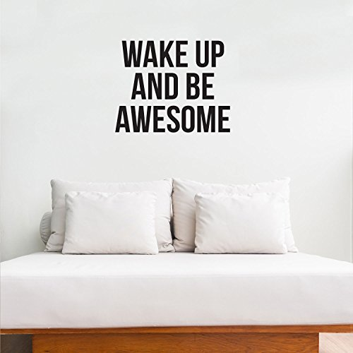 Inspirierende Leben Zitate Vinyl Wand Kunst Aufkleber - Wake up and Be Awesome - 48,3 x 58,4 cm - Motivational Gym Fitness Arbeit Büro Zitat Sprüche Worte Abnehmbare Home Decor Sticker Decals (Allen Wake)