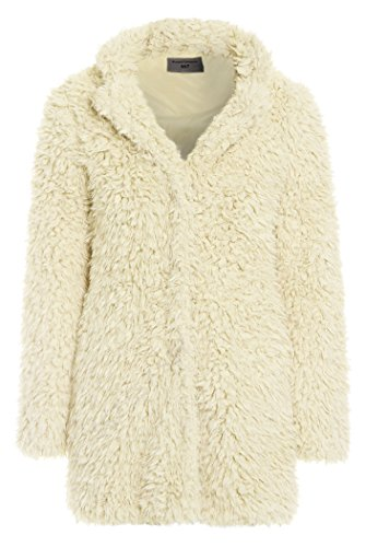 Womens Teddy Faux Fur Coat Pink Cream Long Jacket Size 8 10 12 14 16