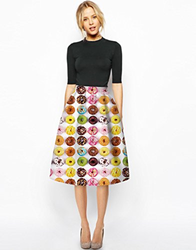 NiSeng Damen Schöne Donuts Druck Sommer knielang Röcke Plissee Bouffant A-Linie Rock Hohe Taille Minikleider Als Bild