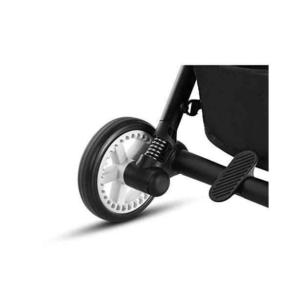 CYBEX Gold Eezy S Twist Compact Pushchair, 360° Rotatable Seat Unit, Ultra-Compact, From Birth to 17 kg (approx. 4 years), Lavastone Black  Sturdy, High-quality Compact Pushchair for newborns up to approx. 17 kg (approx. 4 years) with unique rotatable seat unit - Including rain cover for optimum use in all weather conditions Quick and easy change of direction with 360° rotatable seat unit, Comfortable sitting position thanks to stepless adjustable reclining backrest with lie-flat position, Puncture proof tyres and all-terrain wheel suspension Simple folding with one-hand folding mechanism for compact travel size (LxWxH: 26 x 45 x 56 cm), Extremely manoeuvrable due to narrow wheelbase, Can also be used as 3-in-1 travel system with separately available CYBEX and gb infant carriers and the baby cocoon S (sold separately) 6