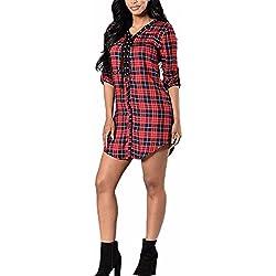 Auxo Mujeres Mini Vestido Camisero Manga Larga Cuadros Escocesa Cuello V Codones en Pecho Rojo&negro ES 40/ASIA L