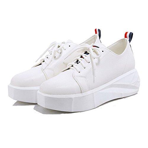 AllhqFashion Damen Mittler Absatz Schnüren Weiches Material Rund Zehe Pumps Schuhe Blau