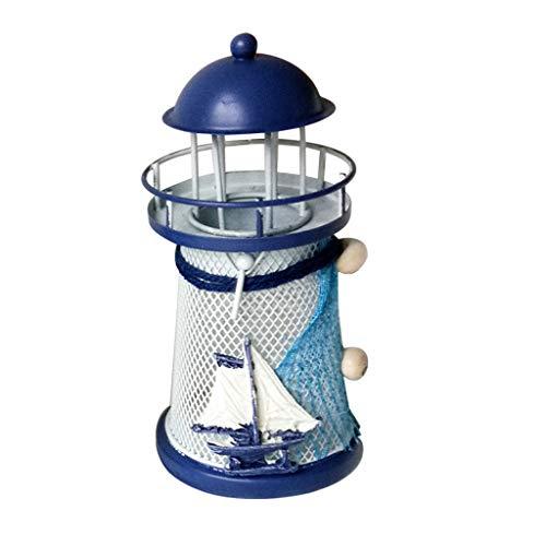 Janly Hängende Dekorationen,Kerze Leuchter,Mittelmeer Leuchtturm Eisen Kerze Leuchter Zuhause Tabelle Dekor (B) -