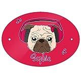 Eurofoto Türschild mit Namen Sophie und Mops-Motiv mit Kopfhörer und Schleife in Pink für Mädchen   Kinderzimmer-Schild