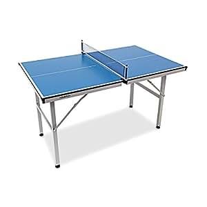 Relaxdays Table de tennis ping-pong pour Usage intérieur transportable table de tennis de table sport activités H x l x P: 75 x 125 x 75 cm sport, bleu