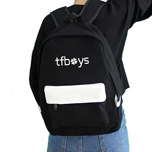 WUZHI Schultasche Rucksack Weiblichen Klee Student College Style Große Kapazität Computer Tasche Unisex,Black-OneSize