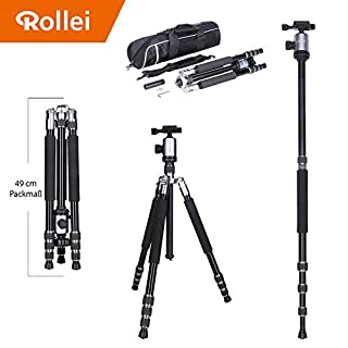 Rollei Allrounder Aluminium tripod Silver with ball head - compatible with DSLR & DSLM cameras - incl. monopod, Acra Swiss quick release plate & tripod bag