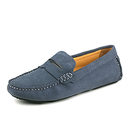 ShenDuo Damen Mokassin Leder Schuhe mit Metallschnallen Casual Slipper Sommer Schuhe D9123 Grau 41
