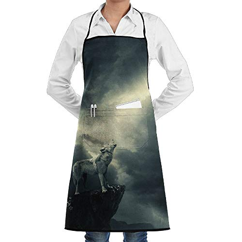 Garten-Schürze kochtn, Bib Apron with Pockets Wolf Howling at Moon Durable Cooking Kitchen Aprons ()