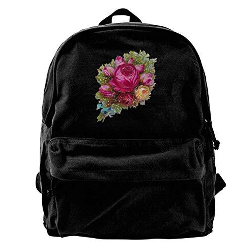 Rucksäcke, Daypacks,Taschen, Canvas Backpack Roses Flowers Bouquet Unique Print Style,Fits 14 Inch Laptop,Durable,Black