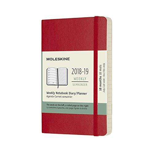 Moleskine 2019 Agenda Settimanale 18 Mesi, con Spazio per Note, Tascabile, Copertina Morbida, Rosso Scarlatto