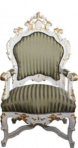 Casa Padrino Barock Luxus Thron Sessel Grün/Gold Streifen / Weiss/Gold - Unikat...