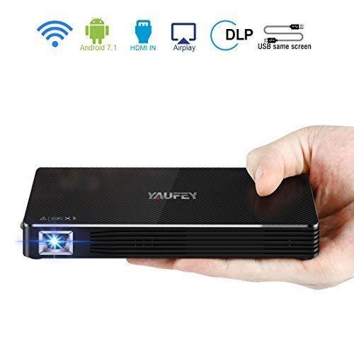 Mini Beamer Full HD,Yaufey DLP Pico Beamer 150 ANSI Lumens Kleiner Video Projektor Bluetooth Wifi Taschenbeamer Beamer Unterstützung Full HD 1920x1080P, Kontrast 2000:1 Android 7.1 Beamer mit stativ