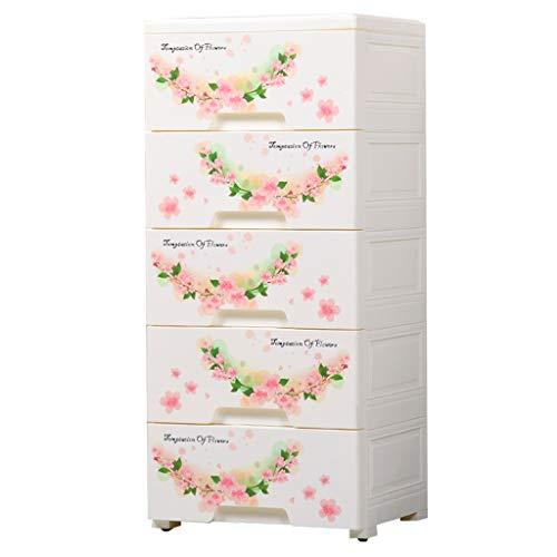 Durevole scatola di immagazzinaggio di stampa, Cinque piani di plastica Cassetto tipo Cassettiera camera da letto bagno Sundries armadio di finitura, 39 * 32 * 85 CM multifunzione ( colore : A )